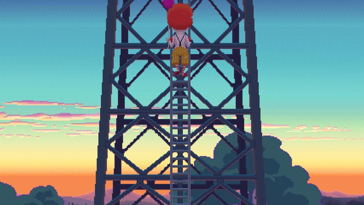 Ransome auf einer Leite eines Radioturm