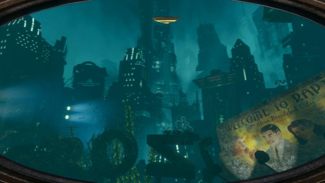 Skyline von Rapture mit Willkommens-Schild