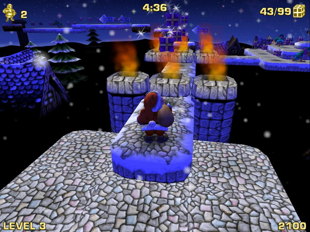 Weihnachtsmann vor Feuer