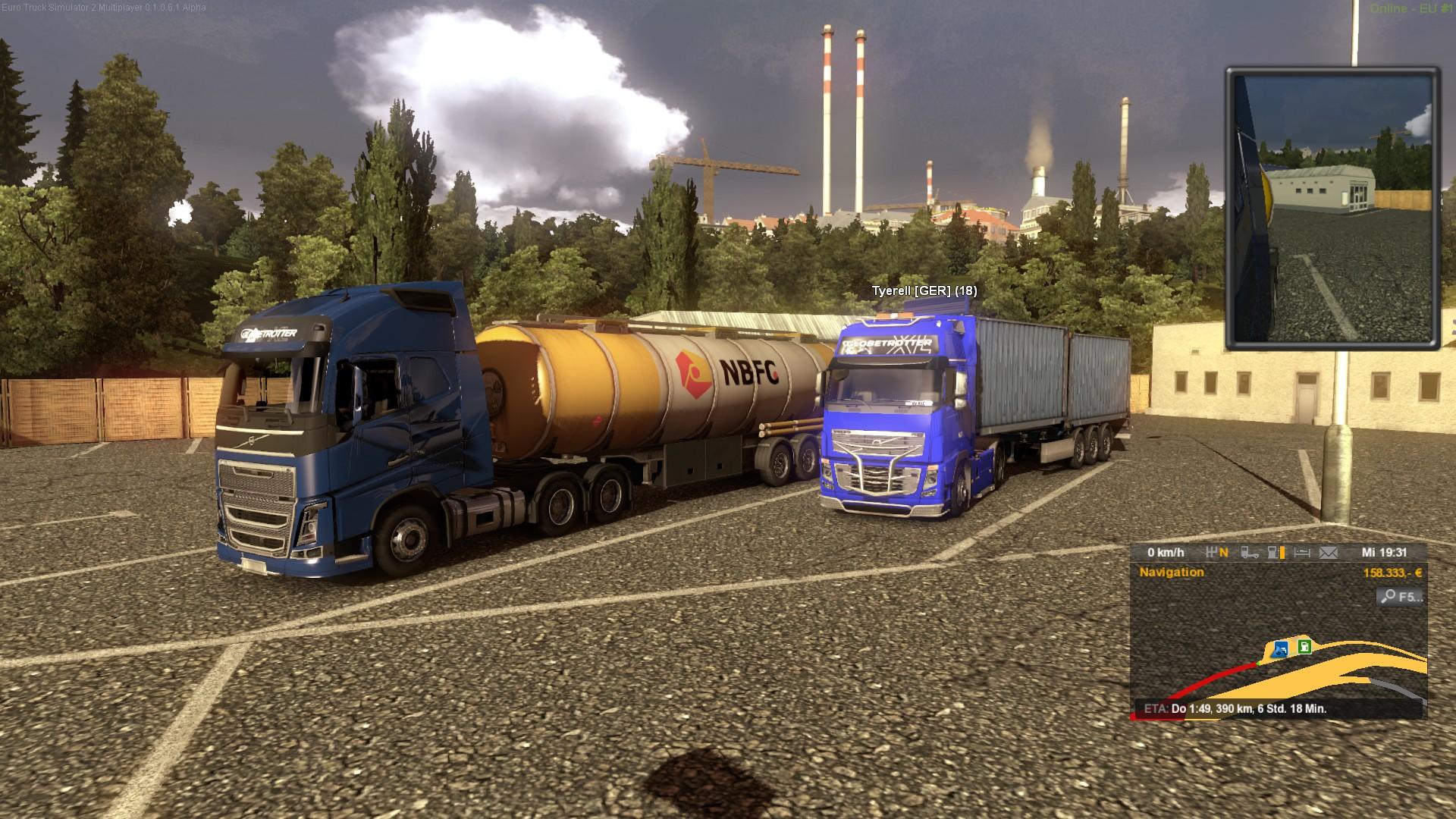 Zwei LKW auf einem Rastplatz